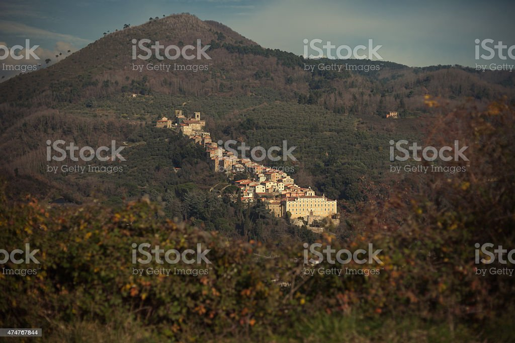 little village in Tuscany, Collodi stock photo