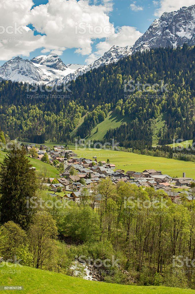 Little village Schoppernau in Austria stock photo