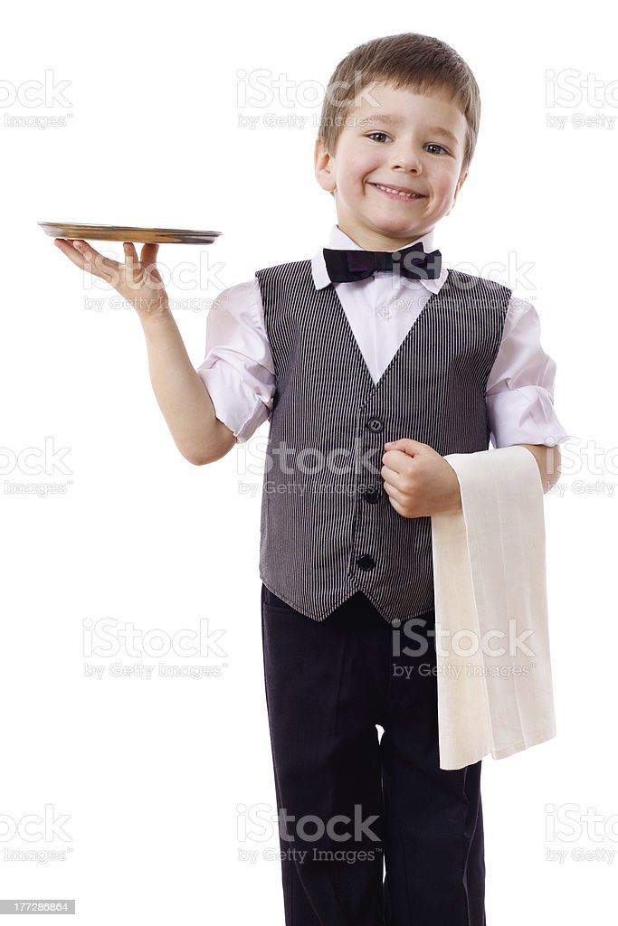 Little waiter with tray and towel royalty-free stock photo