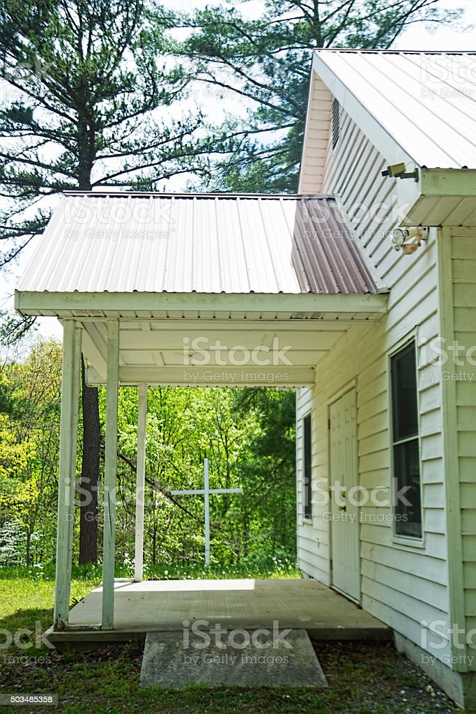 Little white church in Appalachia during summer. stock photo
