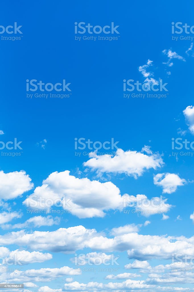 little white clouds in summer blue sky stock photo