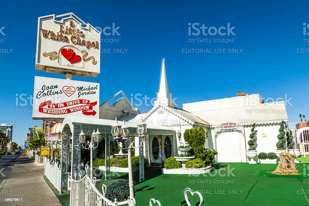 Little White Wedding Chapel  in Las Vegas stock photo