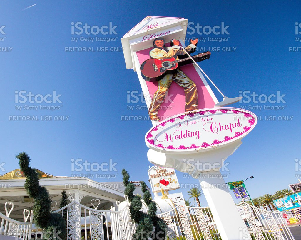Little White Wedding Chapel Vegas stock photo