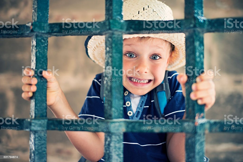 Little wild west bandit jailed stock photo