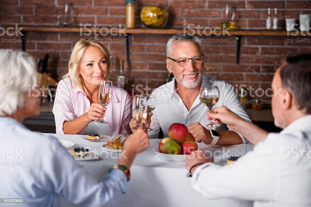 Little wine tasting for four people in the restaurant stock photo