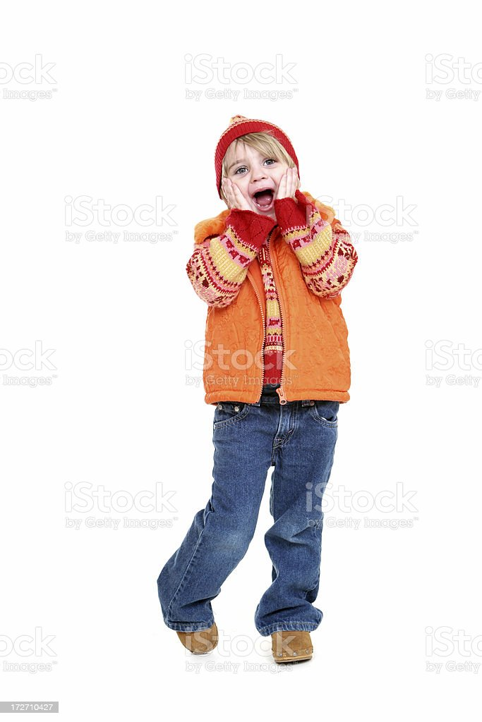 Little winter girl excited royalty-free stock photo