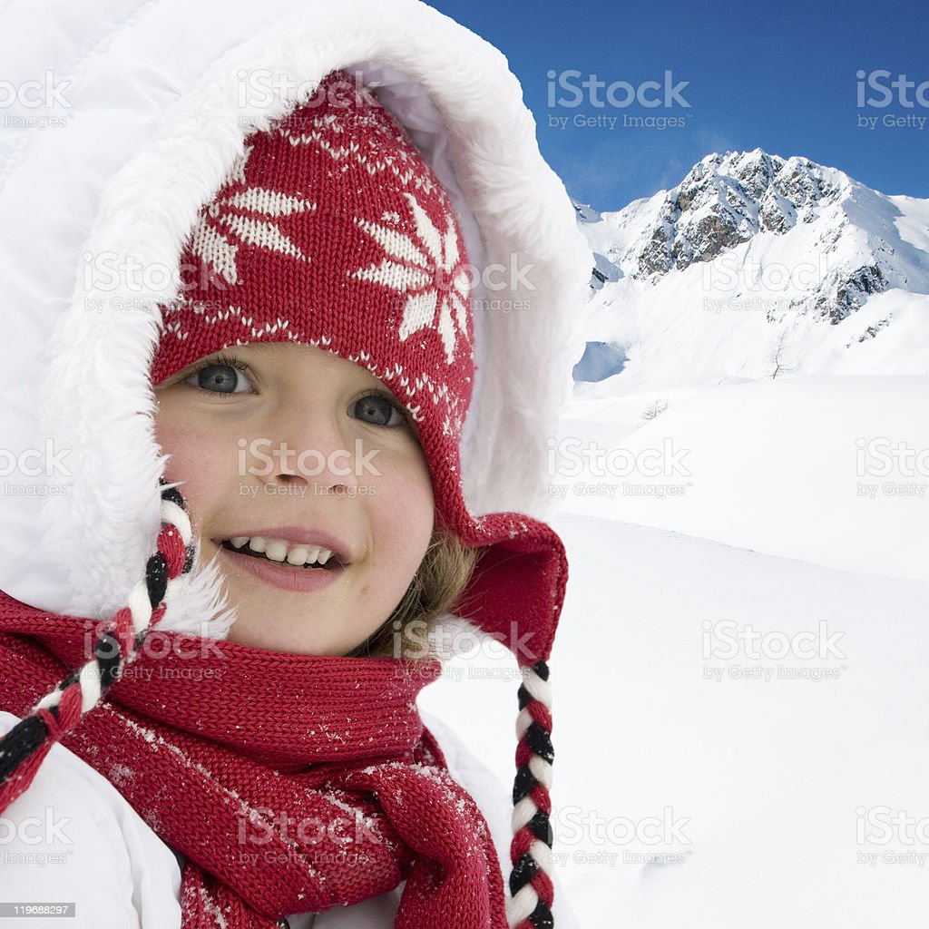 Little winter girl portrait stock photo