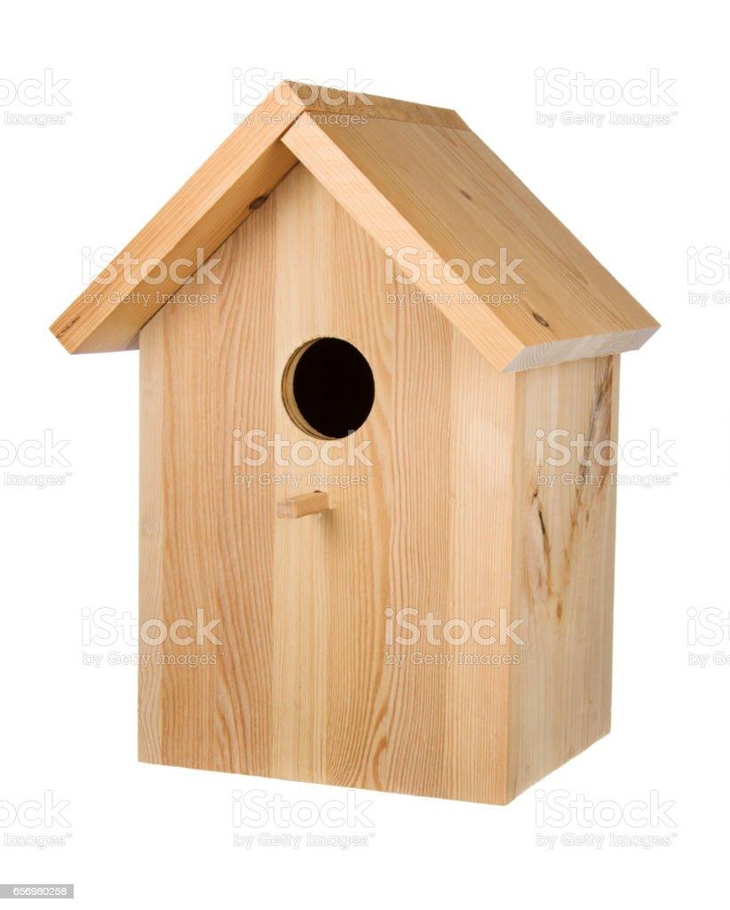 Little wood birdhouse stock photo