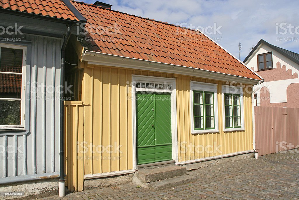 little wooden houses, city of halmstad, sweden royalty-free stock photo