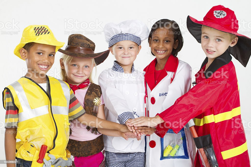 little workers teamwork royalty-free stock photo