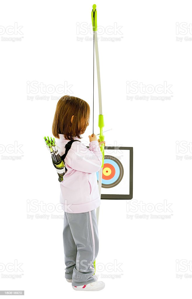 Littlearcher girl taking aim at the target royalty-free stock photo