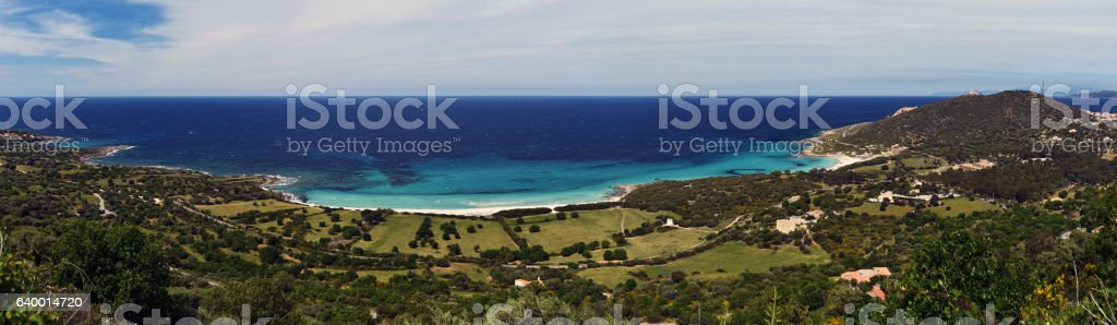 Littoral panorama on west from Ile-Rousse in Corsica stock photo