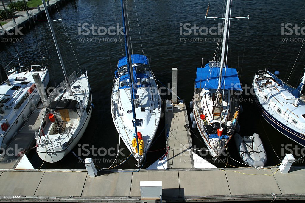Live aboard boats docked at Fort Lauderdale, Florida stock photo