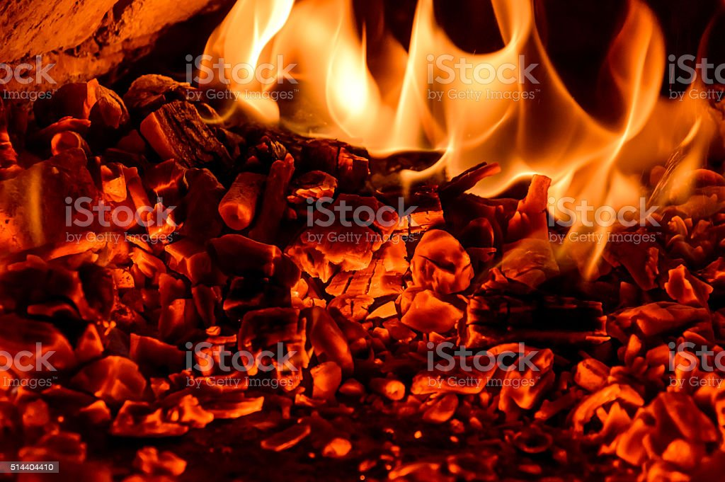 Live Coals in the oven stock photo