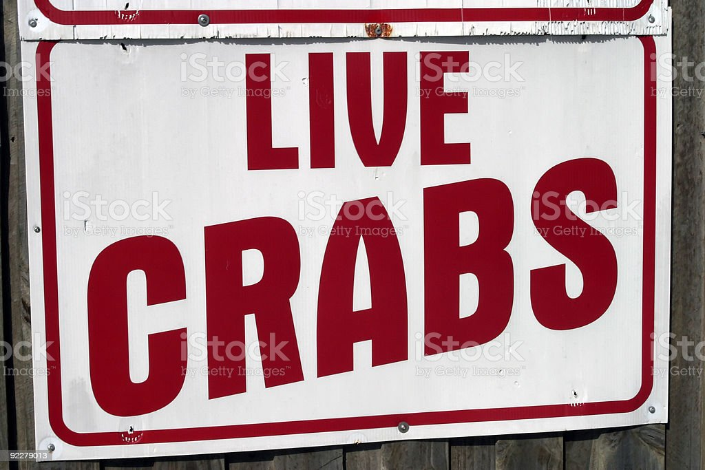 Live Crab Sign royalty-free stock photo