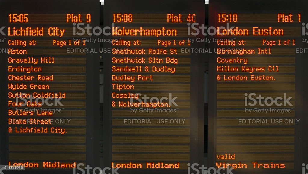 Live departures board, New Street Railway Station. stock photo