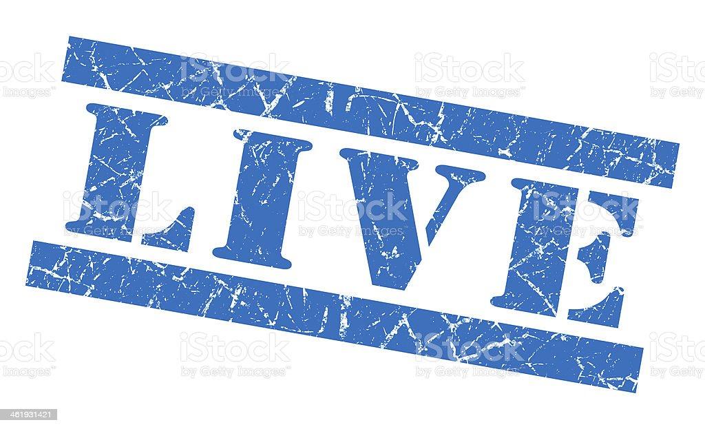 Live grunge blue stamp stock photo