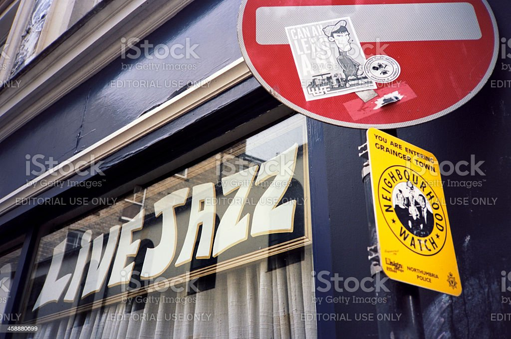 Live Jazz and Neighbourhood Watch royalty-free stock photo