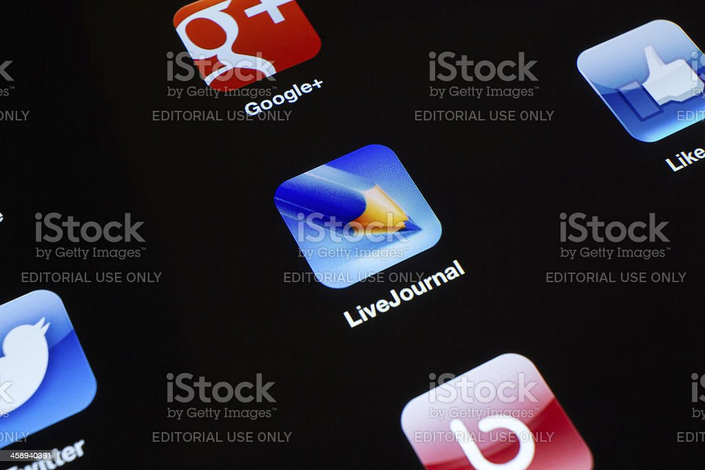 Live journal App icon on New iPad stock photo