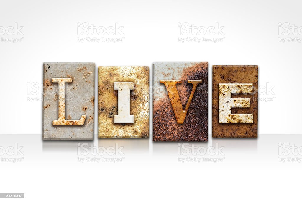 Live Letterpress Concept Isolated on White stock photo