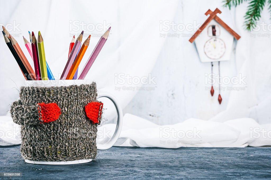 Live mug in cozy stock photo