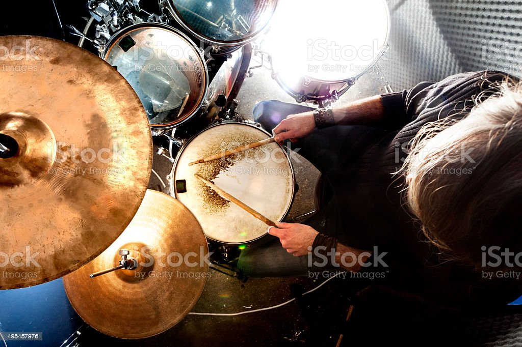 Live music and drummer.Music instrument stock photo