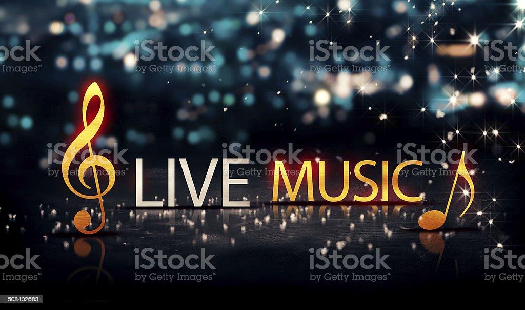Live Music Gold Silver City Bokeh Star Shine Blue  3D stock photo