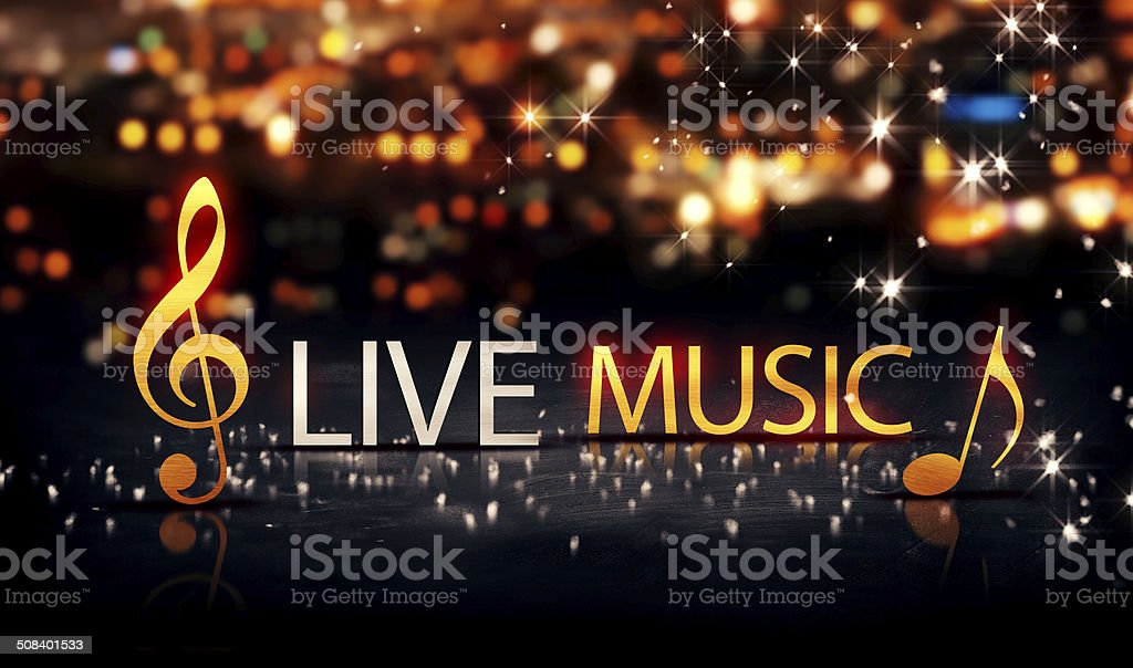 Live Music Gold Silver City Bokeh Star Shine Yellow 3D stock photo