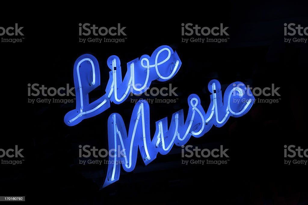 Live Music Neon Sign Black Background royalty-free stock photo