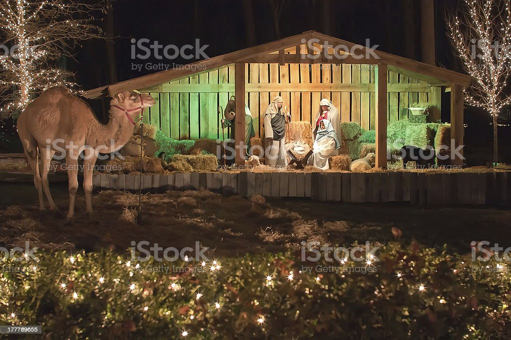 live nativity stock photo
