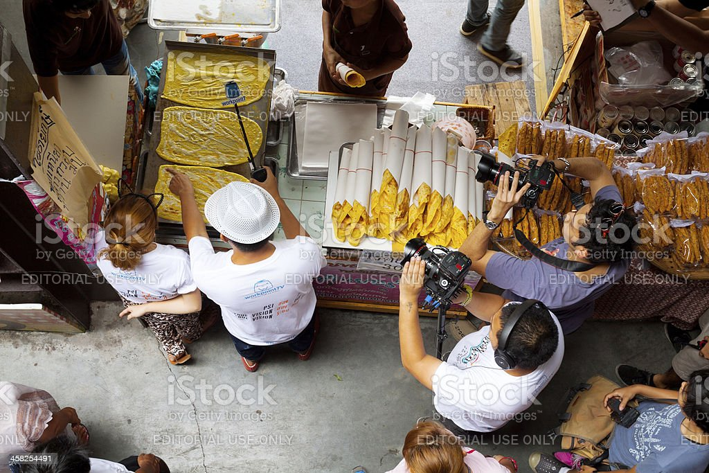 TV live on Kwan Riam Floating Market royalty-free stock photo