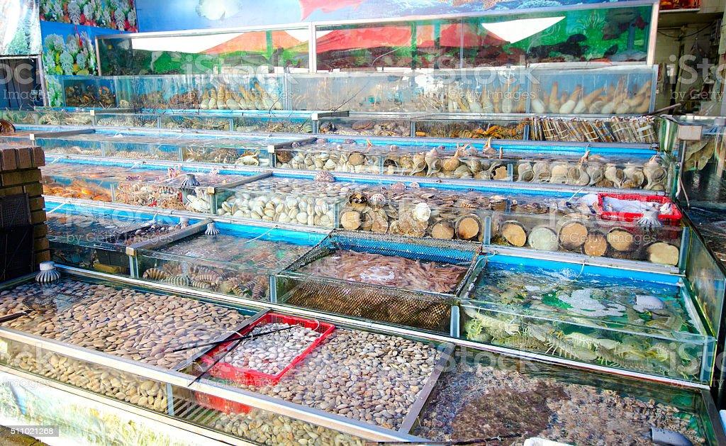 Live Seafood Market in Hong Kong, China stock photo