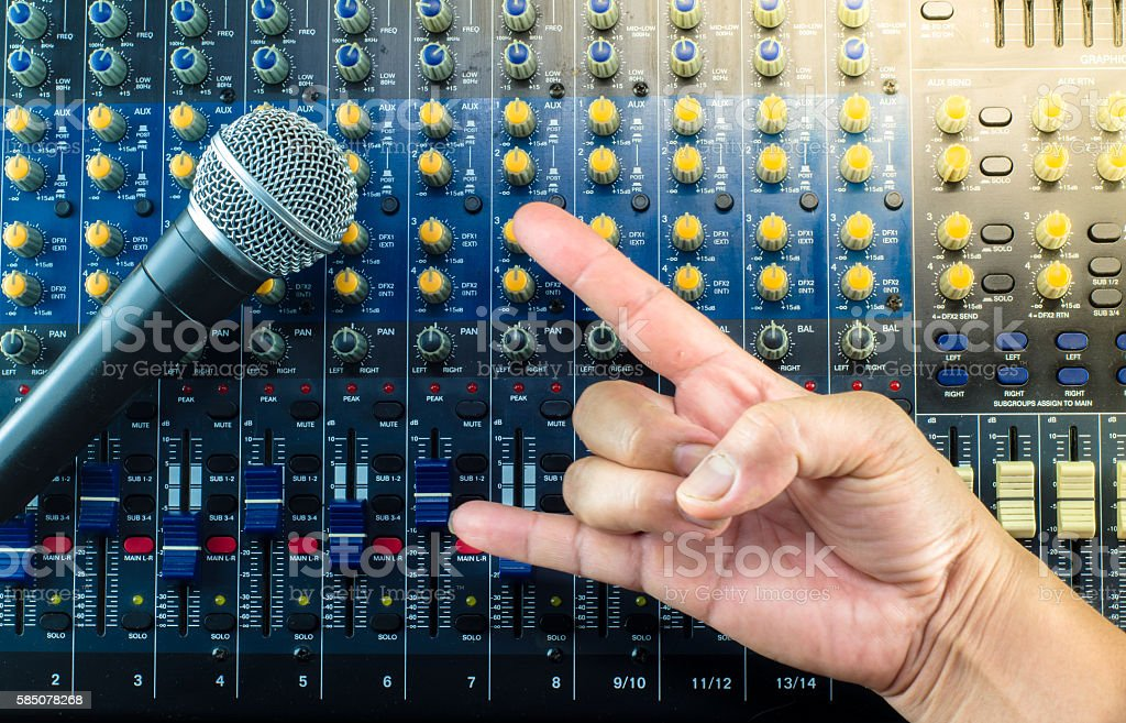 Live Sound Mixers and music studio Hand symbol stock photo