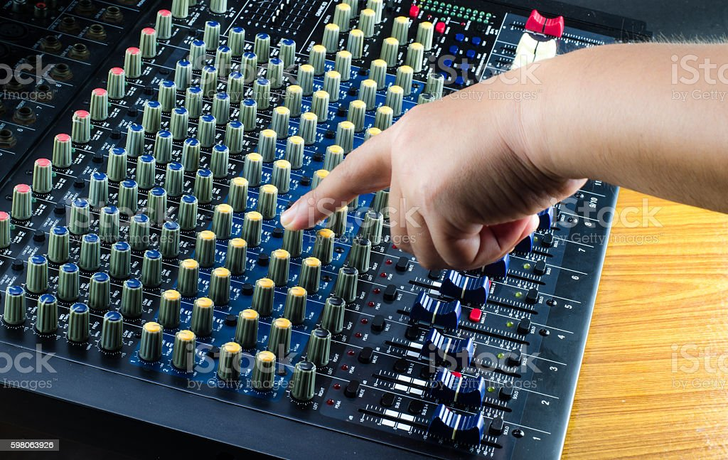 Live Sound Mixers and music studio stock photo