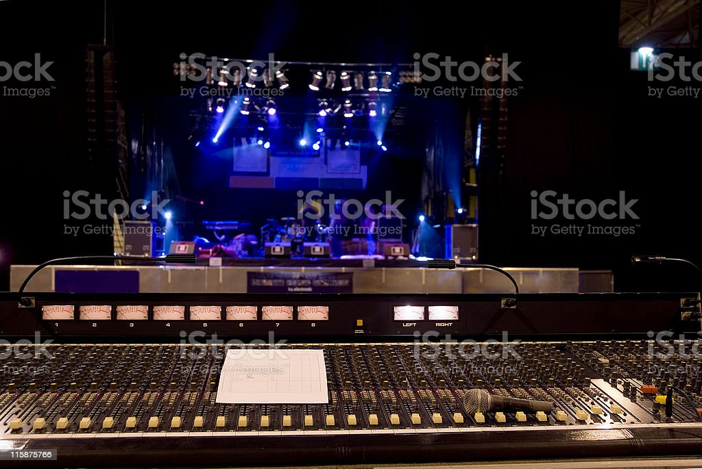 Live soundboard in focus with stage  preparation royalty-free stock photo