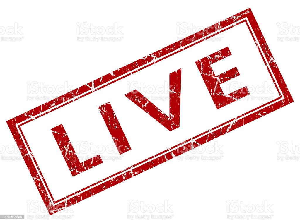 Live square red grunge stamp royalty-free stock photo