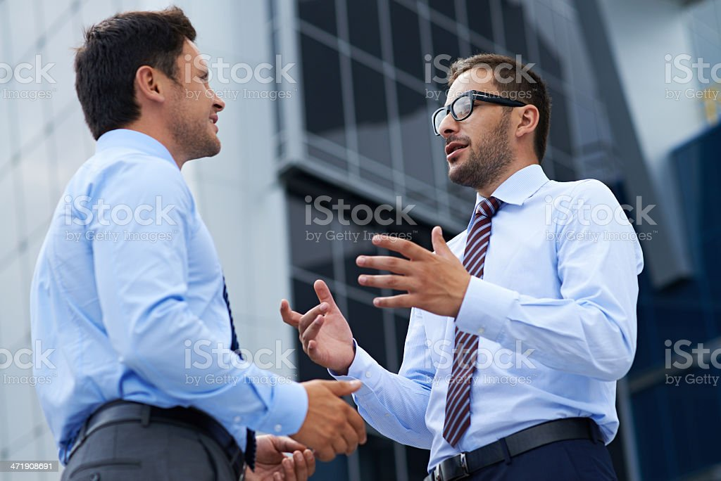 Lively business discussion royalty-free stock photo