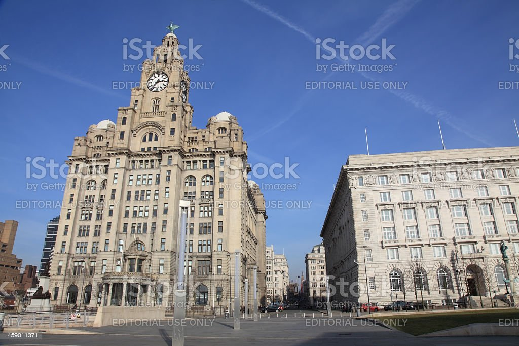 Liver  and Cunard Buildings royalty-free stock photo