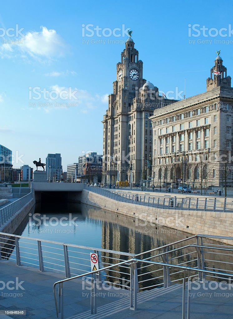 Liver building and canal link stock photo