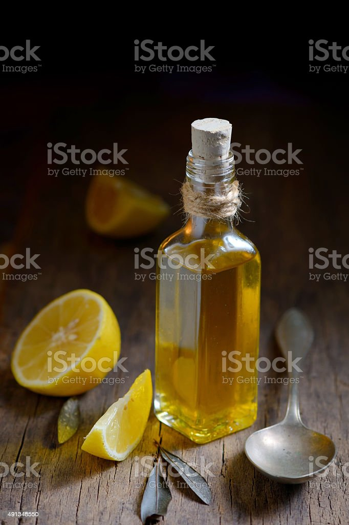 Liver Detox with olive oil and  lemon fruits stock photo