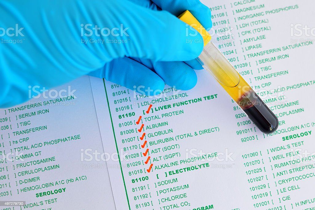 Liver function test stock photo