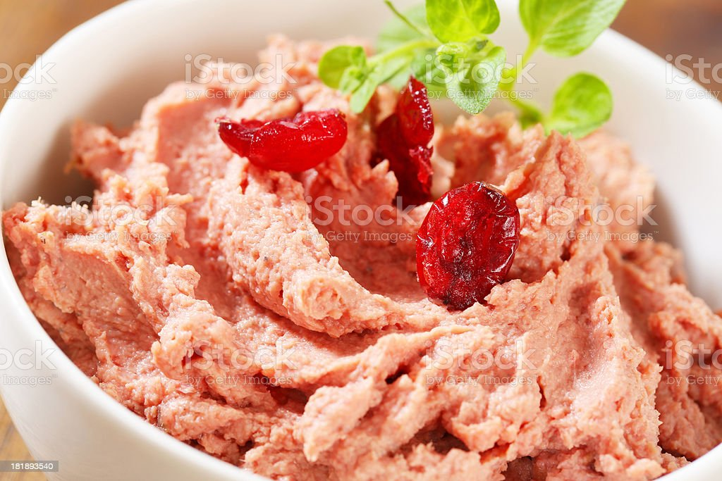 Liver mousse with cranberries stock photo