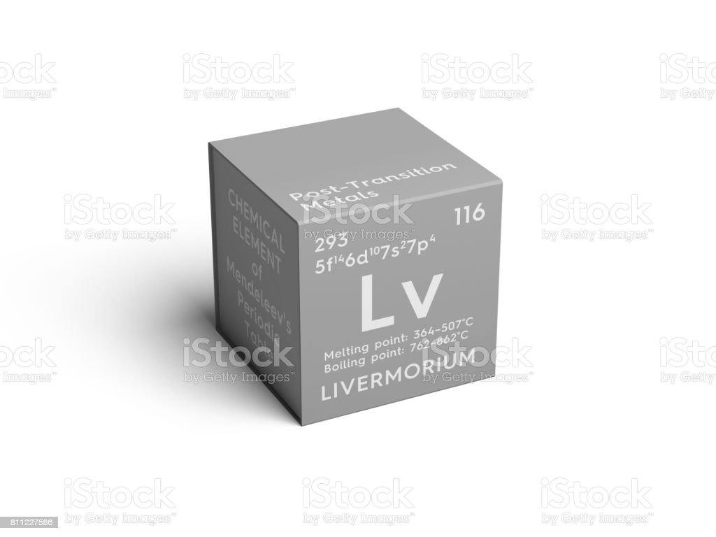 Livermorium. Post-transition metals. Chemical Element of Mendeleev's Periodic Table. stock photo