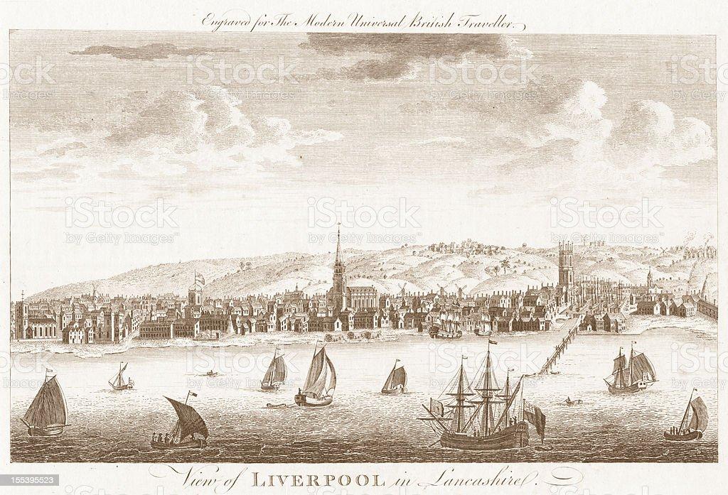 Liverpool - 18th Century Engraved Image stock photo