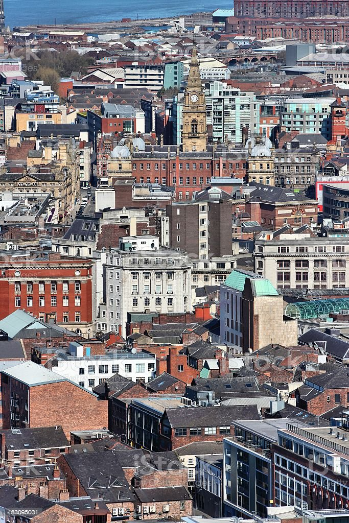 Liverpool aerial view royalty-free stock photo