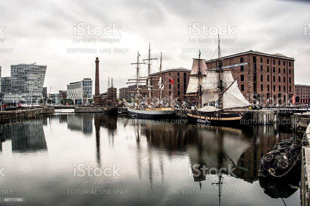 Liverpool Albert Docks and Sailing Ships stock photo