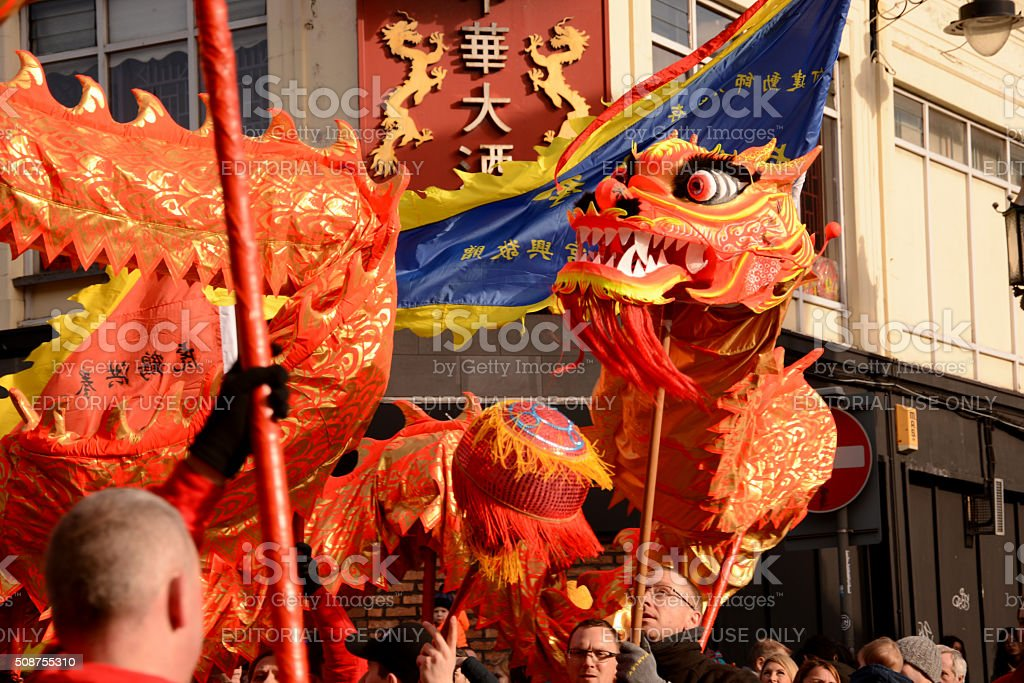 Liverpool Chinese New Year - Dragon Dancers stock photo