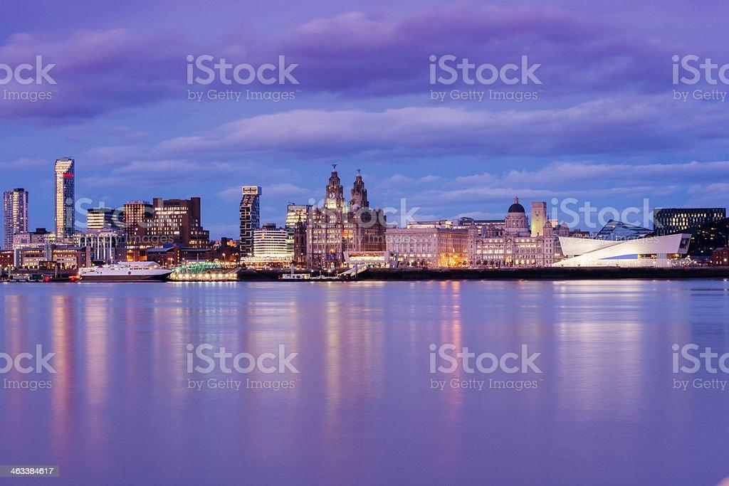 UK Liverpool England Waterfront City Skyline at Dusk stock photo