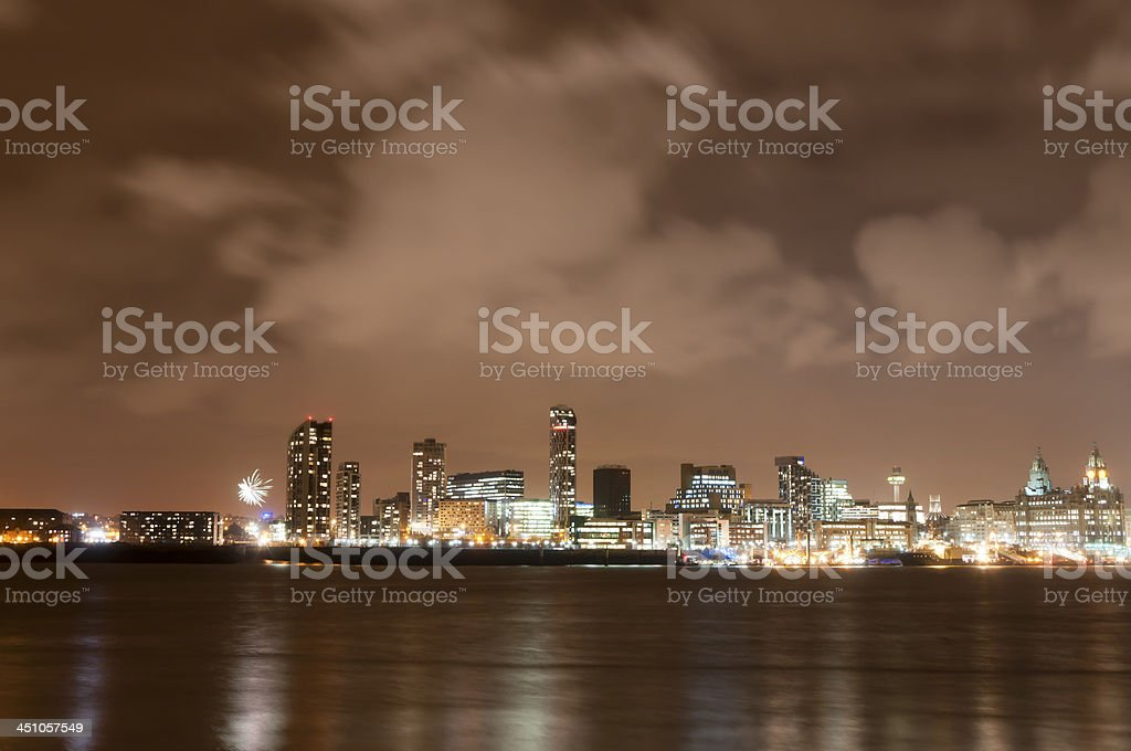 Liverpool Firework Panorama on New Year's Eve royalty-free stock photo
