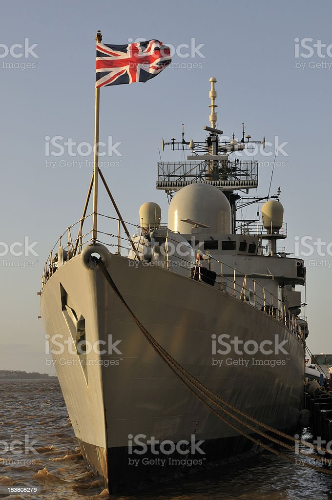 HMS Liverpool flying the Union Jack stock photo